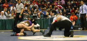 Edgemont's Trey Aslanian locks up with Midlakes' Sean Peacock in the Division II 113-pound title match at the New York State High School Wrestling Championships. Peacock defeated Aslanian, 5-0, Saturday. Photo Credit: Tony Pinciaro