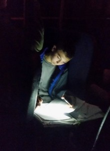 #PantherTough student-athlete! Freshman Nick Meglino working on his homework by cell phone light on the bus ride home from our match. Keep #FeedingThePanther!
